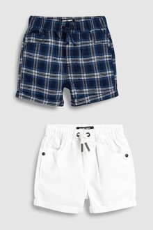 Next Linen Blend Pull-On Shorts Two Pack (3mths-7yrs)
