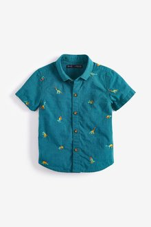 Next Short Sleeve Dinosaur Embroidery Shirt (3mths-7yrs)