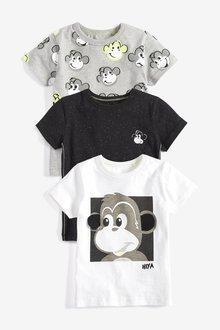 Next Monkey Short Sleeve T-Shirts Three Pack (3mths-7yrs)