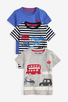 Next Transport T-Shirts Three Pack (3mths-7yrs)