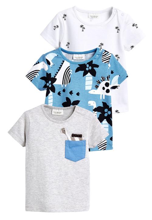 Next Dino And Tropical Print T-Shirts Three Pack (0mths-2yrs)