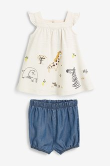 Next Embroidered Animal Blouse And Bloomer Set (0mths-2yrs)