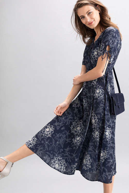 Capture Mock Wrap Midi Dress