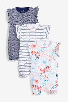 Next Watercolour Floral Rompers Three Pack (0mths-2yrs)