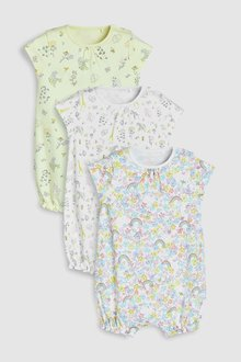 Next Delicate Rainbow Floral Rompers Three Pack (0mths-2yrs)