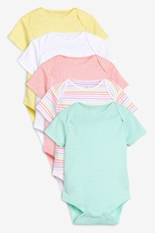 Next Spot And Stripe Short Sleeve Bodysuits Five Pack (0mths-2yrs)
