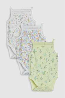 Next Delicate Rainbow Floral Strappy Vests Three Pack (0mths-2yrs)