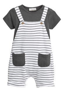 Next Stripe Cropped Dungarees And Bodysuit Set (0mths-2yrs)