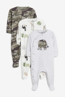 Next Character Print Sleepsuits Three Pack (0mths-2yrs)