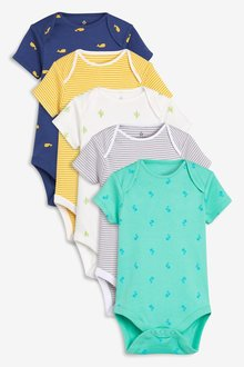 Next Print & Stripe Short Sleeve Bodysuits Five Pack (0mths-2yrs)