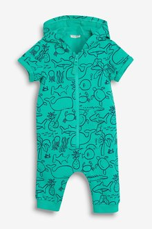 Next Sea Print Hooded Romper (0mths-2yrs)