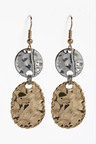 Next Dented Effect Double Disc Drop Earrings