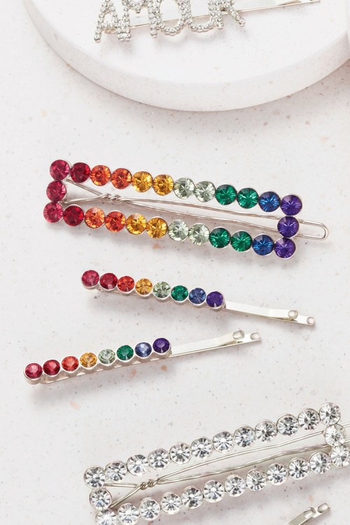Next Rainbow Crystal Effect Hair Slides Three Pack