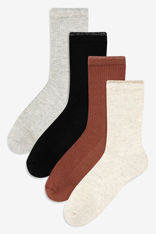Next Cushioned Sole Rib Socks Four Pack