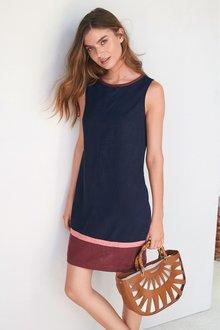 Next Colourblock Linen Blend Shift Dress