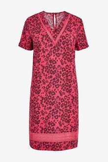 Next Linen Blend T-Shirt Dress- Tall