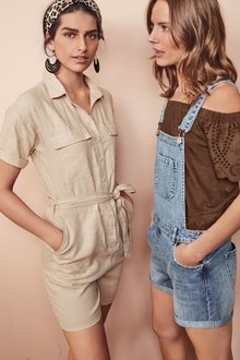 Next Pure Linen Utility Playsuit