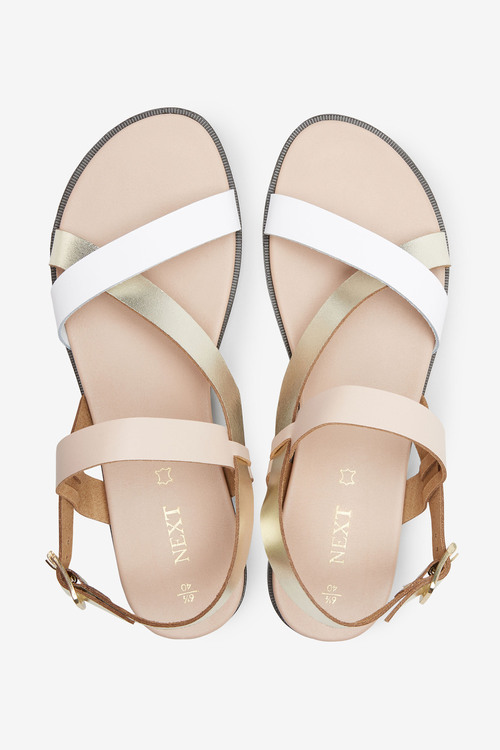 Next Leather Asymmetric Footbed Sandals