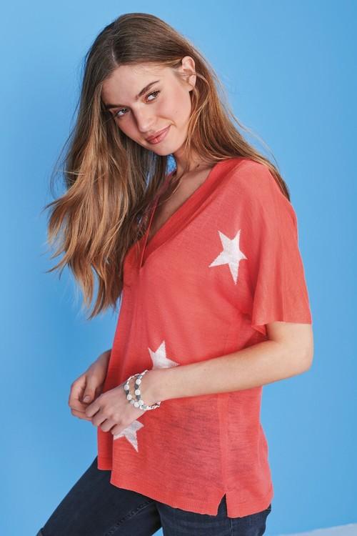 Next Linen Blend V-Neck T-Shirt