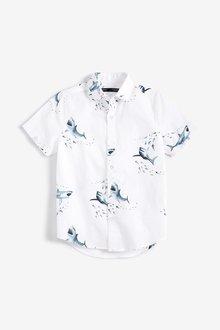 Next Short Sleeve Shark Print Shirt (3-16yrs)