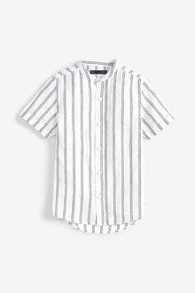 Next Short Sleeve Stripe Linen Mix Shirt (3-16yrs)