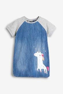 Next Unicorn Jersey Sleeve Denim Dress (3mths-7yrs)