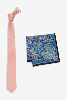 Next Tie With Paisley Pattern Pocket Square And Tie Clip