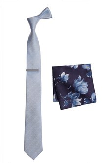 Next Tie And Navy Floral Pocket Square Set