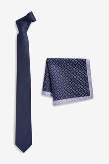 Next Textured Tie With Geo Print Pocket Square