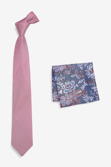 Next Signature Tie With Floral Pocket Square