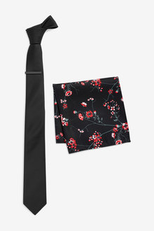 Next Tie With Floral Pocket Square And Tie Clip