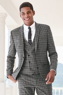 Next Skinny Fit Check Suit: Jacket - 234941