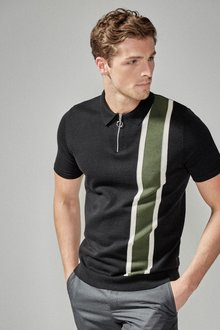 Next Blocked Stripe Zip Polo