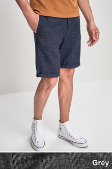 Next Linen Blend Check Shorts