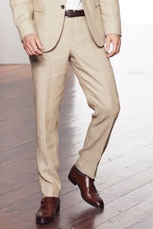 Next Signature Linen Suit: Trousers -Tailored Fit