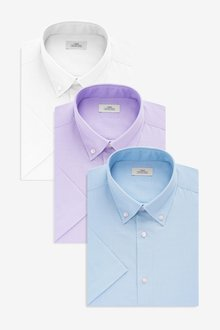Next Slim Fit Short Sleeve Oxford Shirts Three Pack