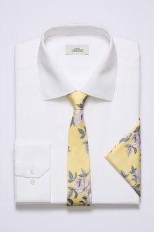 Next Slim Fit Textured Shirt With Yellow Floral Tie And Pocket Square Set