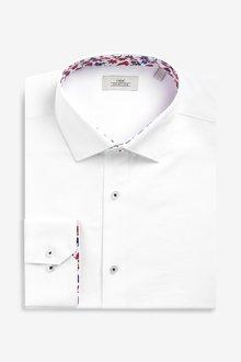 Next Textured Regular Fit Floral Trim Shirt