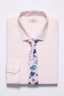 Next Textured Shirt With Floral Tie Set- Slim Fit Single Cuff