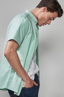 Next Short Sleeve Stretch Oxford Shirt- Slim Fit