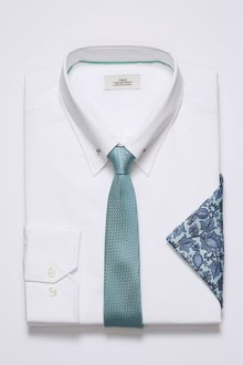 Next Slim Fit Collar Pin Shirt With Mint Tie
