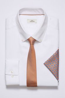 Next Textured Regular Fit Shirt With Orange Tie And Pocket Square Set