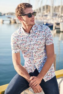 Next Floral Print Short Sleeve Shirt