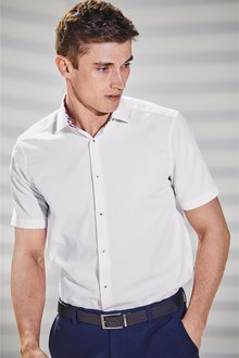 Next Short Sleeve Regular Fit Shirt With Floral Trim
