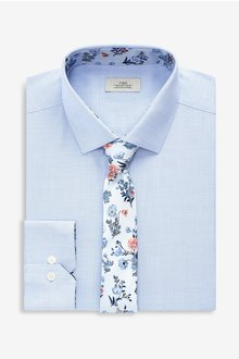 Next Textured Shirt With Floral Tie Set -Regular Fit Single Cuff