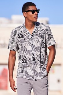 Next Oriental Print Short Sleeve Shirt