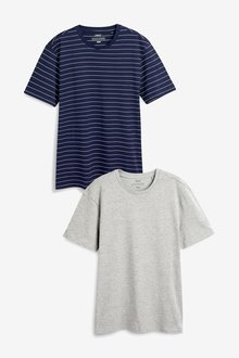 Next Stripe And Plain T-Shirts Two Pack