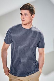 Next Stripe Linen Mix T-Shirt