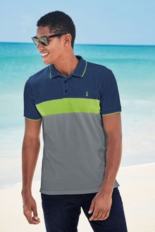 Next Neon Colourblock Polo