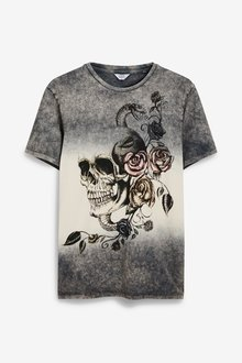 Next Dip Dye Skull Graphic T-Shirt